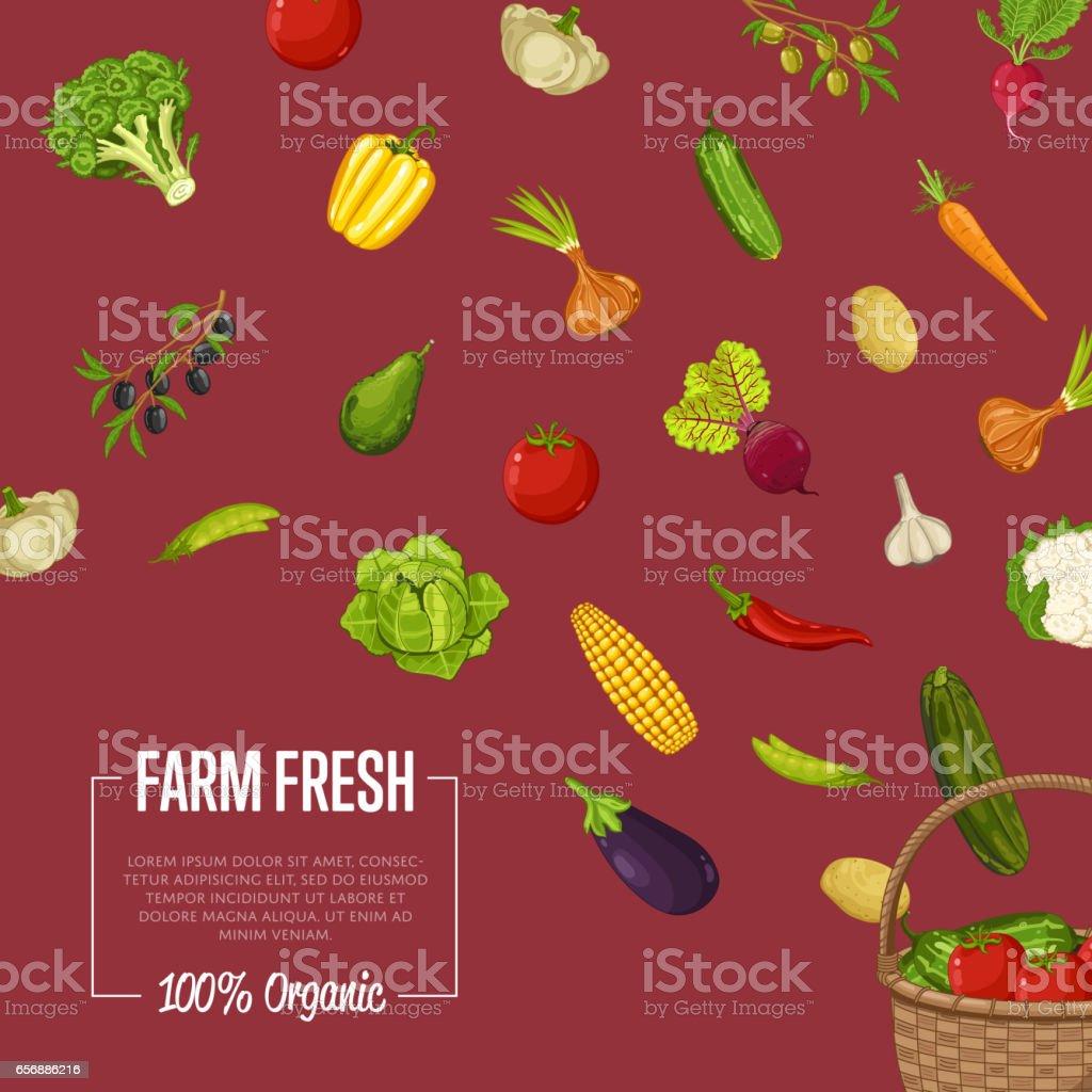 Fresh farm food banner with vegetable vector art illustration