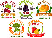 Fresh farm organic vegetables badges set