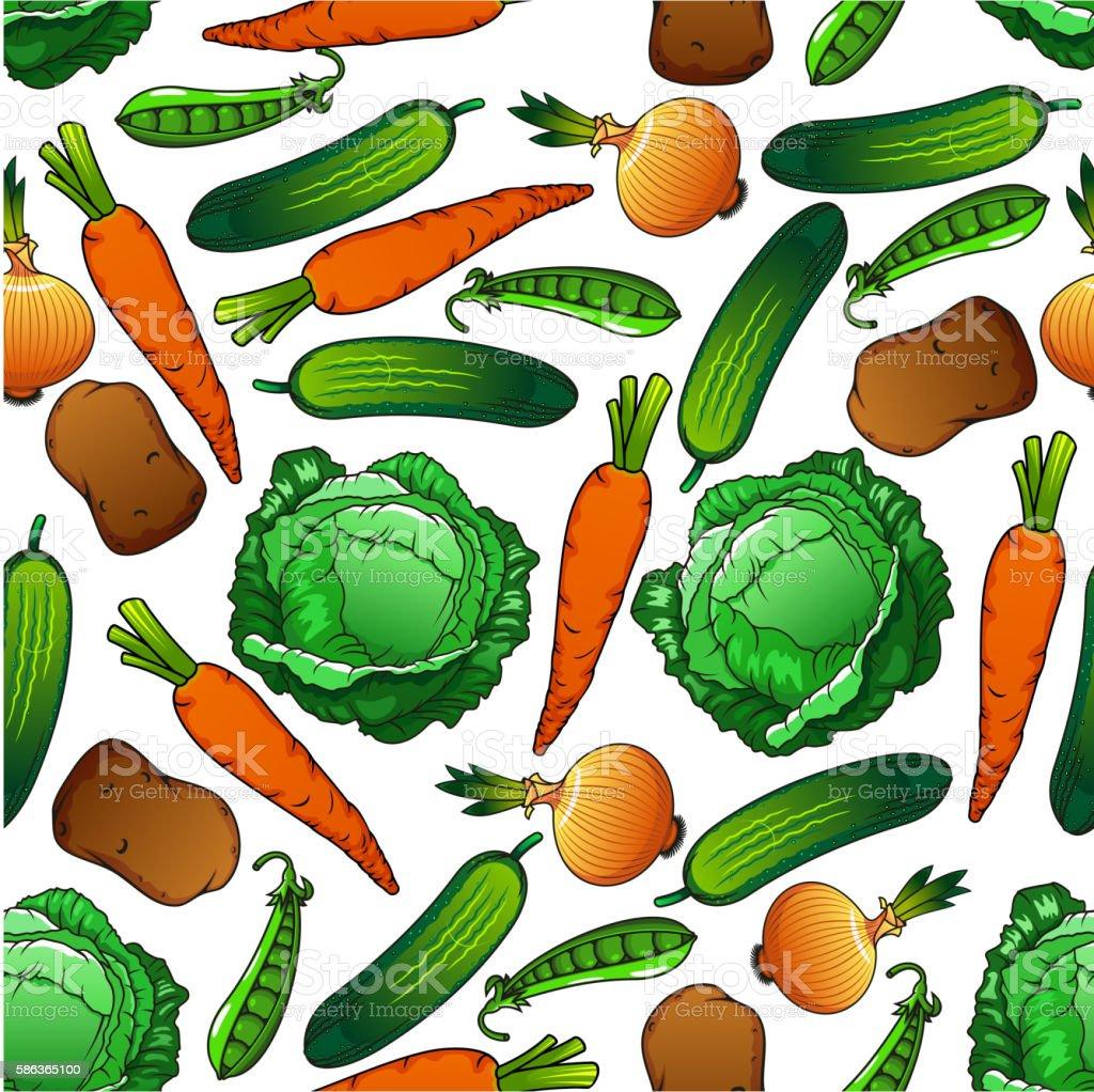 Fresh farm vegetables seamless pattern vector art illustration