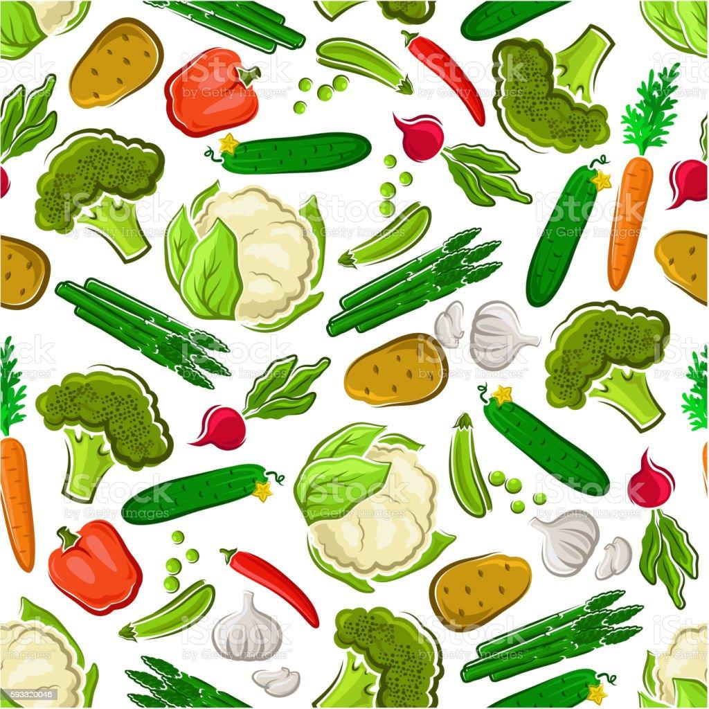 Fresh farm vegetarian food seamless background vector art illustration