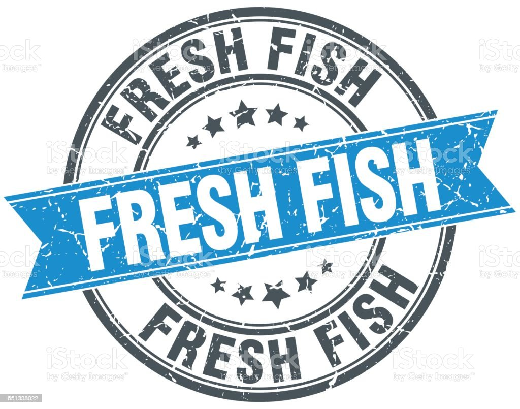 fresh fish blue round grunge vintage ribbon stamp vector art illustration