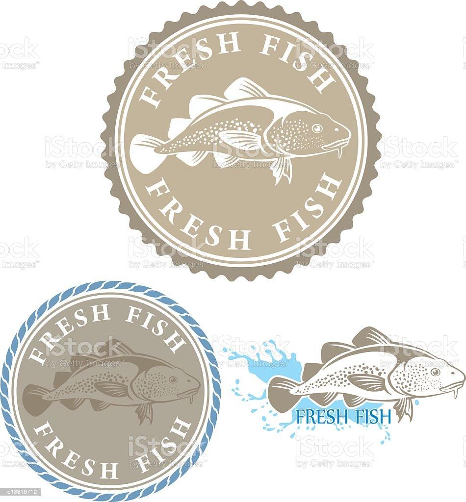 fresh fish emblem vector art illustration