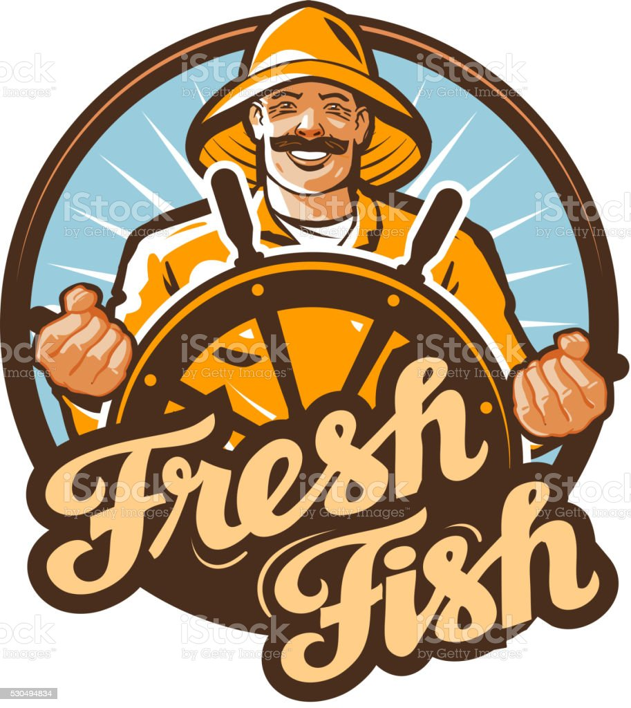 fresh fish. fisherman at the helm of a fishing boat vector art illustration