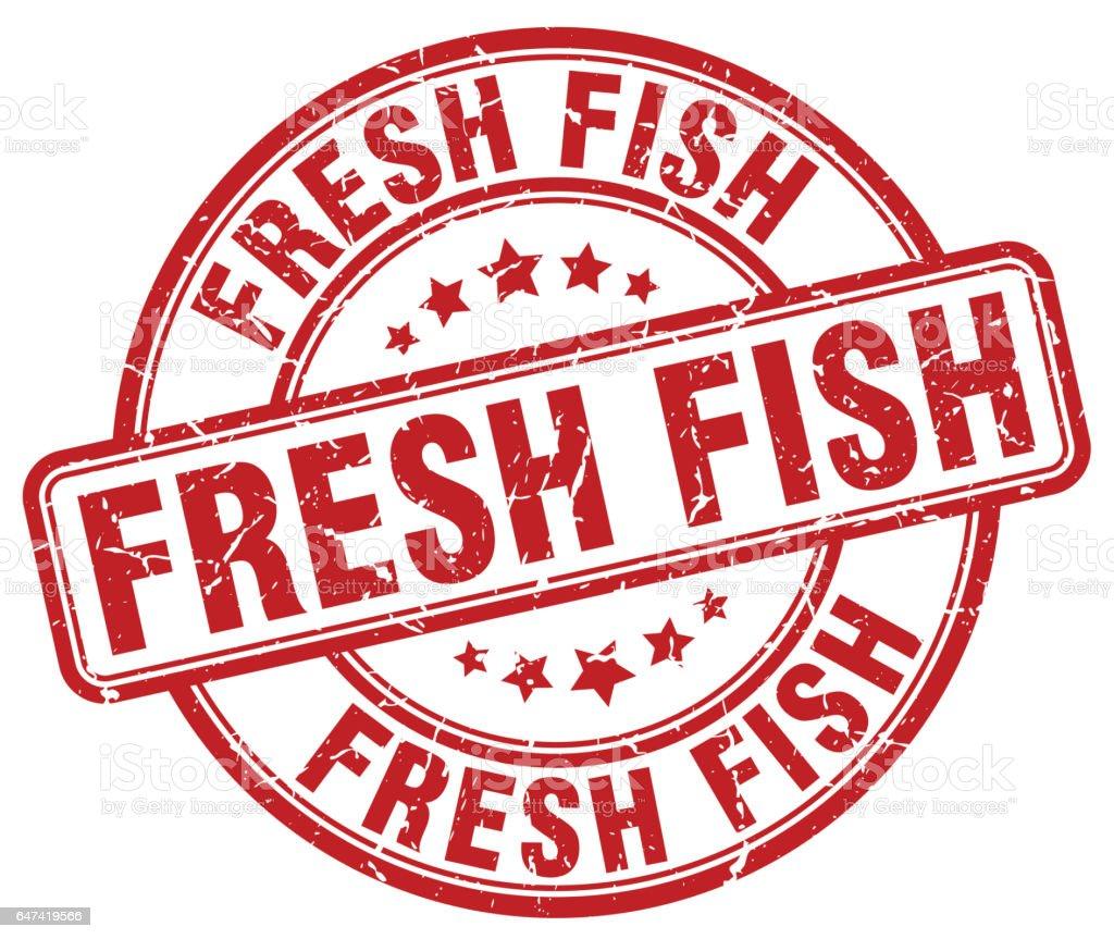 fresh fish red grunge round vintage rubber stamp vector art illustration