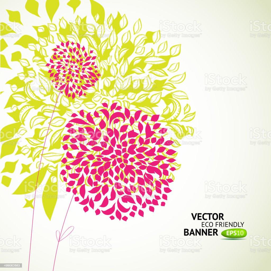 Fresh floral green background vector art illustration