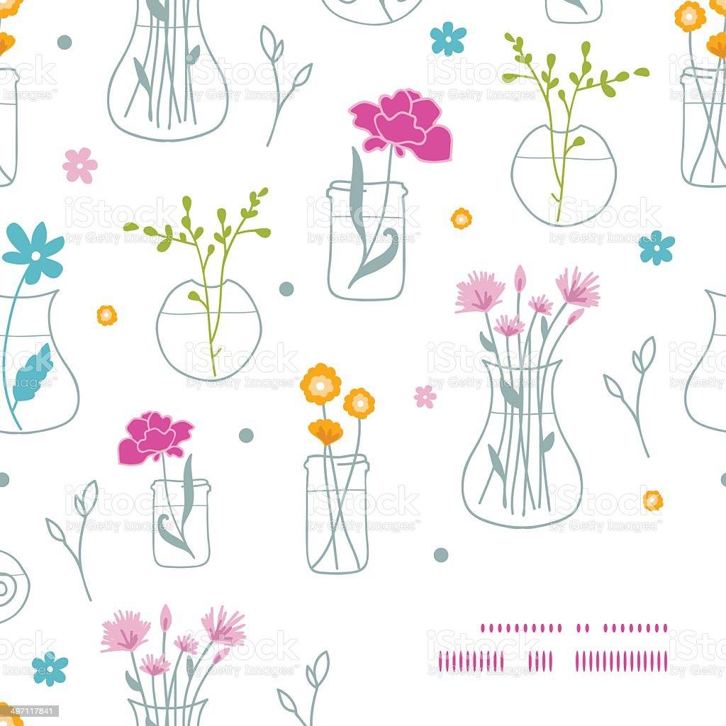 Fresh flowers in vases frame corner pattern background royalty-free stock vector art