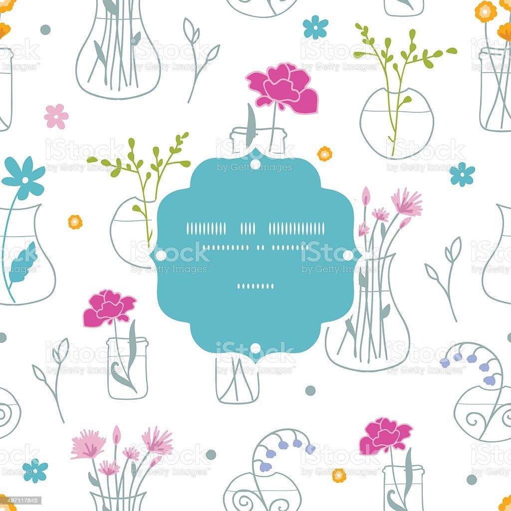 Fresh flowers in vases frame seamless pattern background royalty-free stock vector art