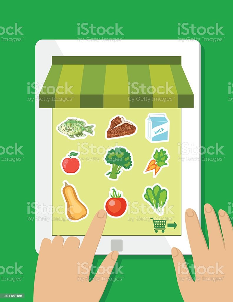 Fresh Food Delivery Concept - Online Grocery vector art illustration