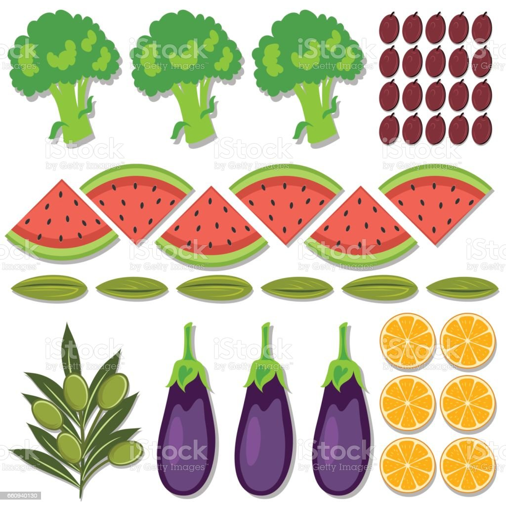 Fresh Foods Flatlays or knolling Concepts. vector art illustration