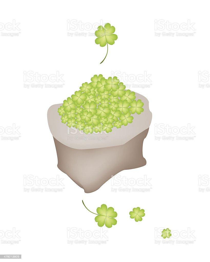Fresh Four Leaf Clovers in A Sack vector art illustration