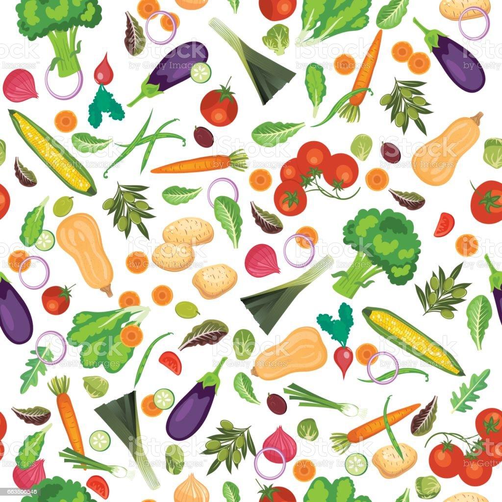 Fresh Fruits And Vegetables Seamless Pattern vector art illustration