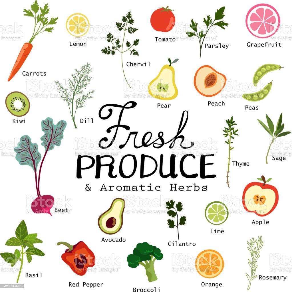 Fresh Fruits and Vegetables vector art illustration
