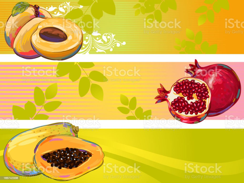 Fresh fruits Banners royalty-free stock vector art