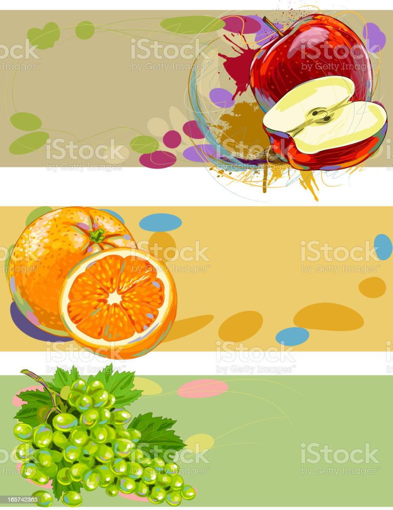 Fresh fruits Banners vector art illustration