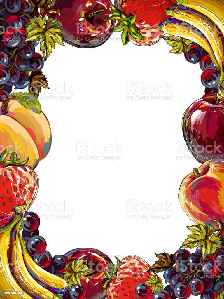 Fresh Fruits Frame Isolated on White royalty-free stock vector art