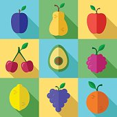 Fresh Fruits Icons Set with Long Shadow