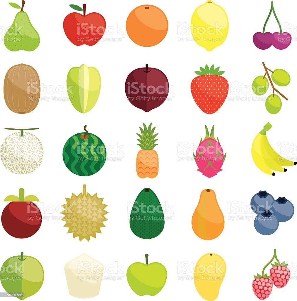 Fresh fruits illustration collection set vector art illustration