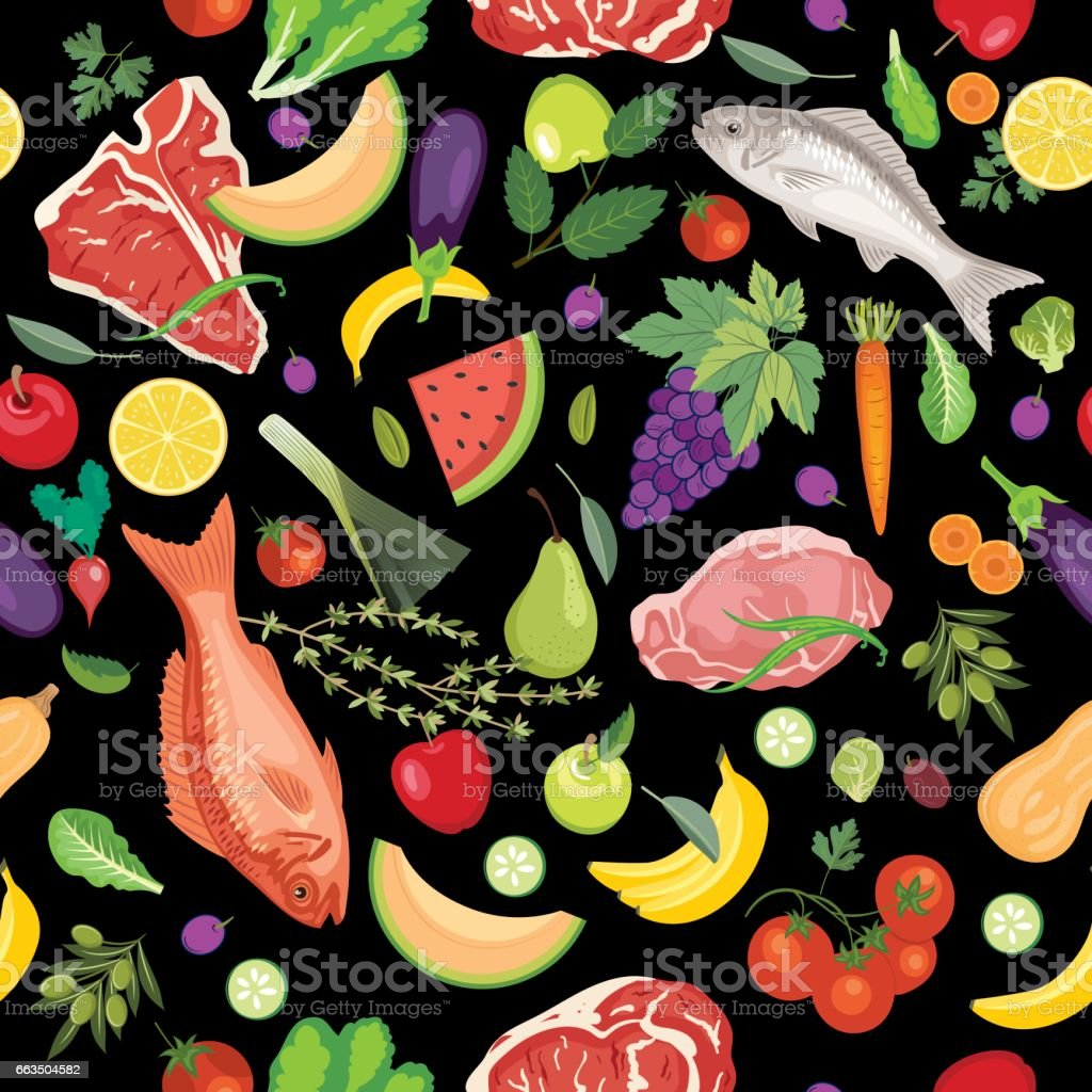 Fresh Fruits, Meats And Vegetables Seamless Pattern vector art illustration