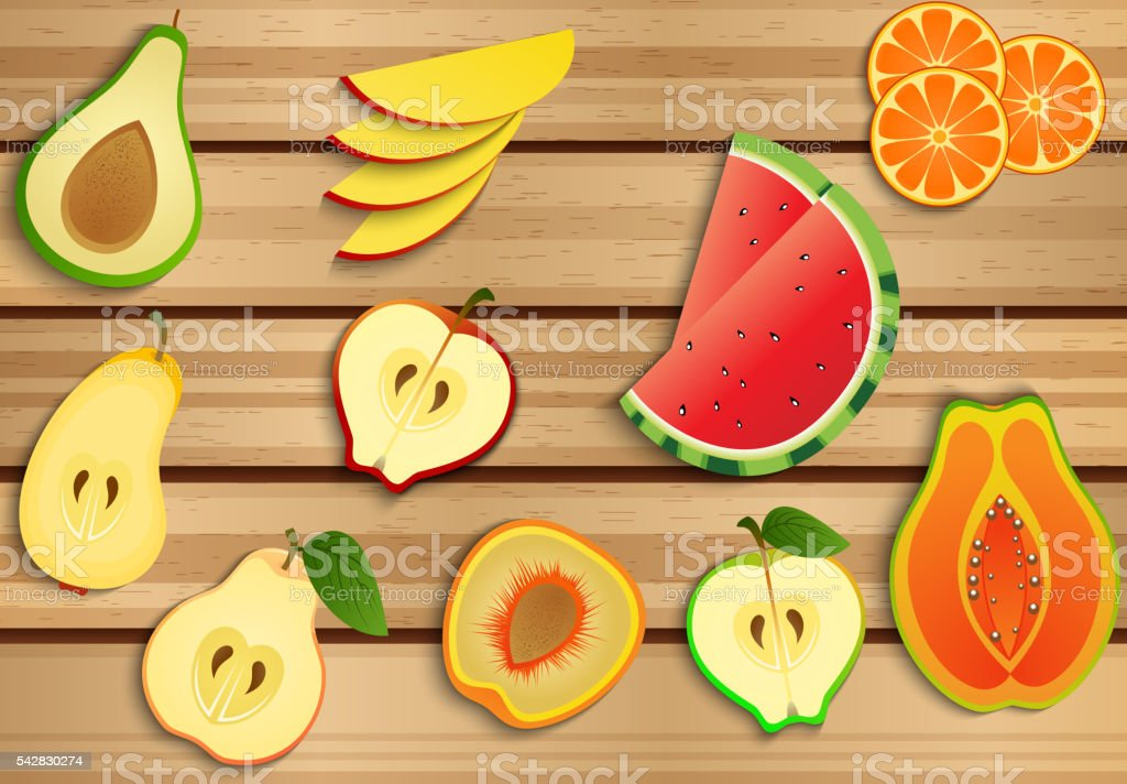 Fresh fruits on a brown wooden background vector art illustration