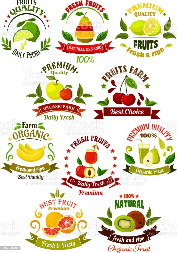 Fresh fruits retro icons for agriculture design vector art illustration