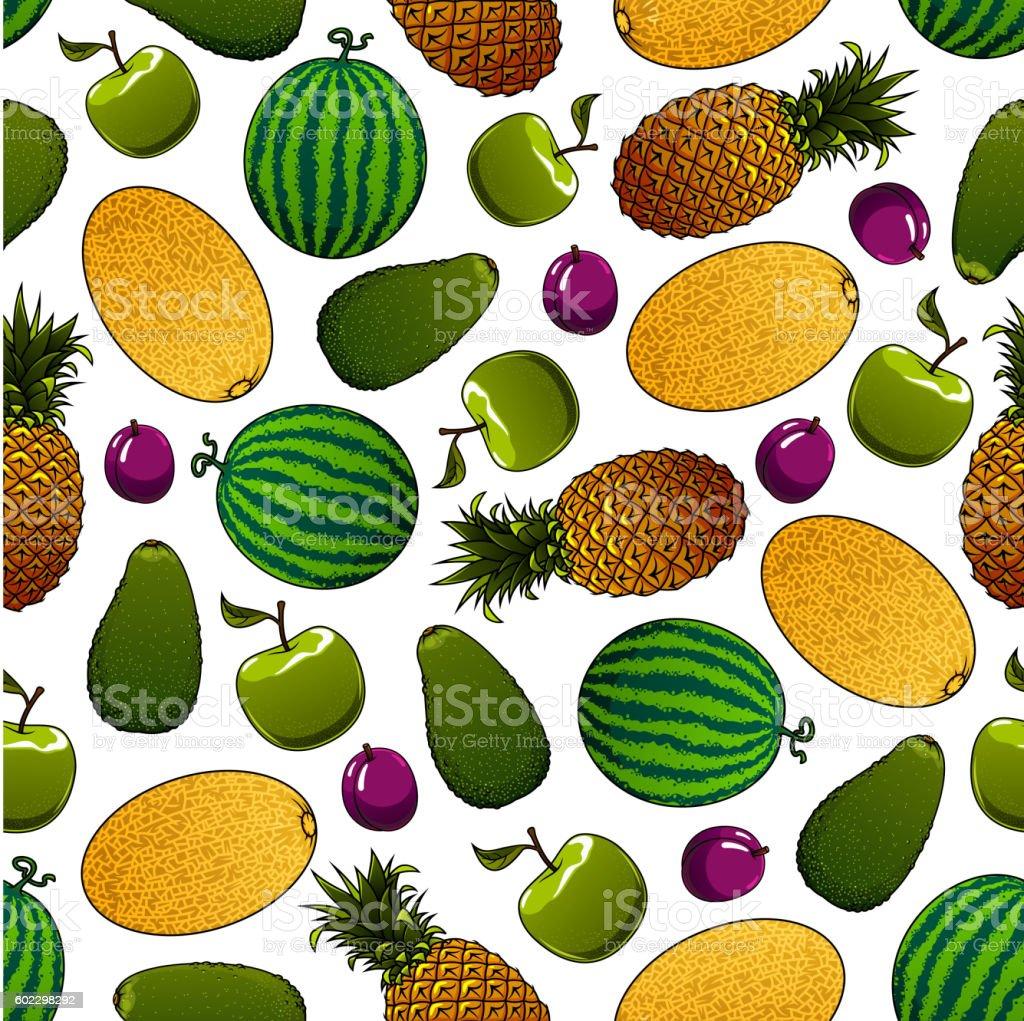 Fresh fruits seamless pattern for food design vector art illustration
