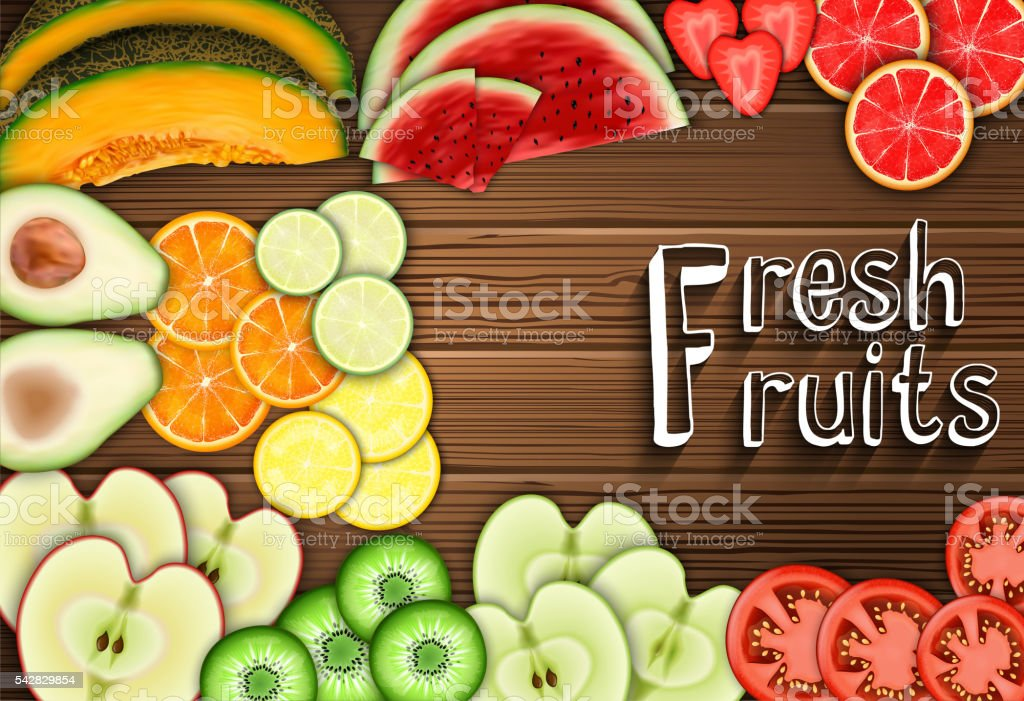 Fresh fruits slices on the table background vector art illustration