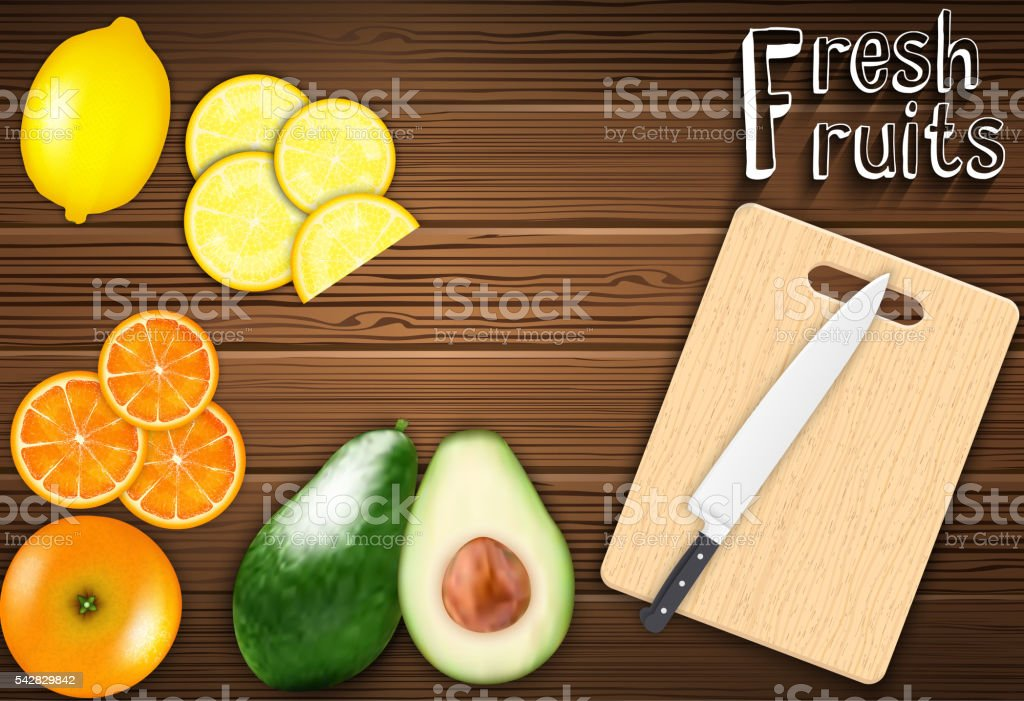 Fresh fruits slices on the table with a knife vector art illustration
