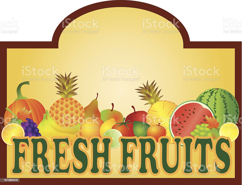 Fresh Fruits Stand Signage Vector Illustration royalty-free stock vector art