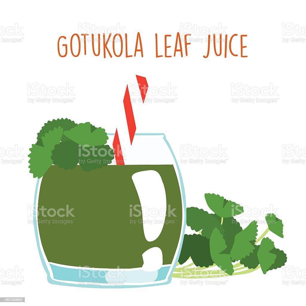 fresh gotukola juice in glass with tube vector vector art illustration