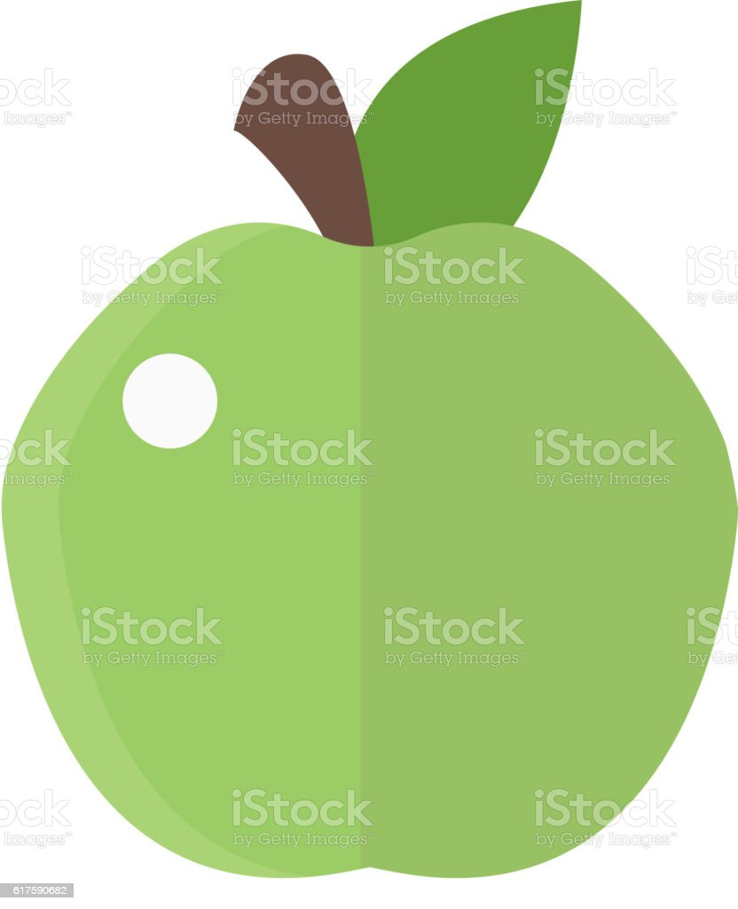 Fresh green apple icon vector art illustration