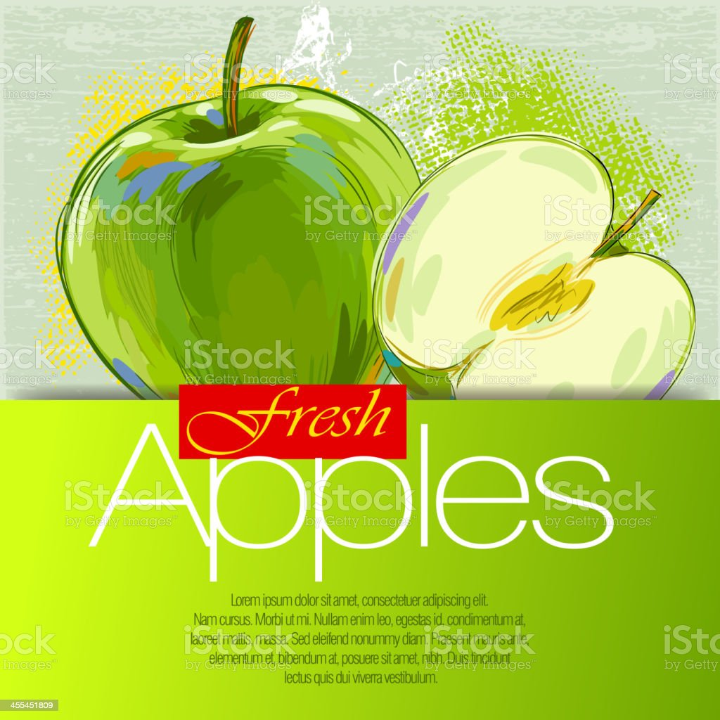 Fresh Green Apple vector art illustration