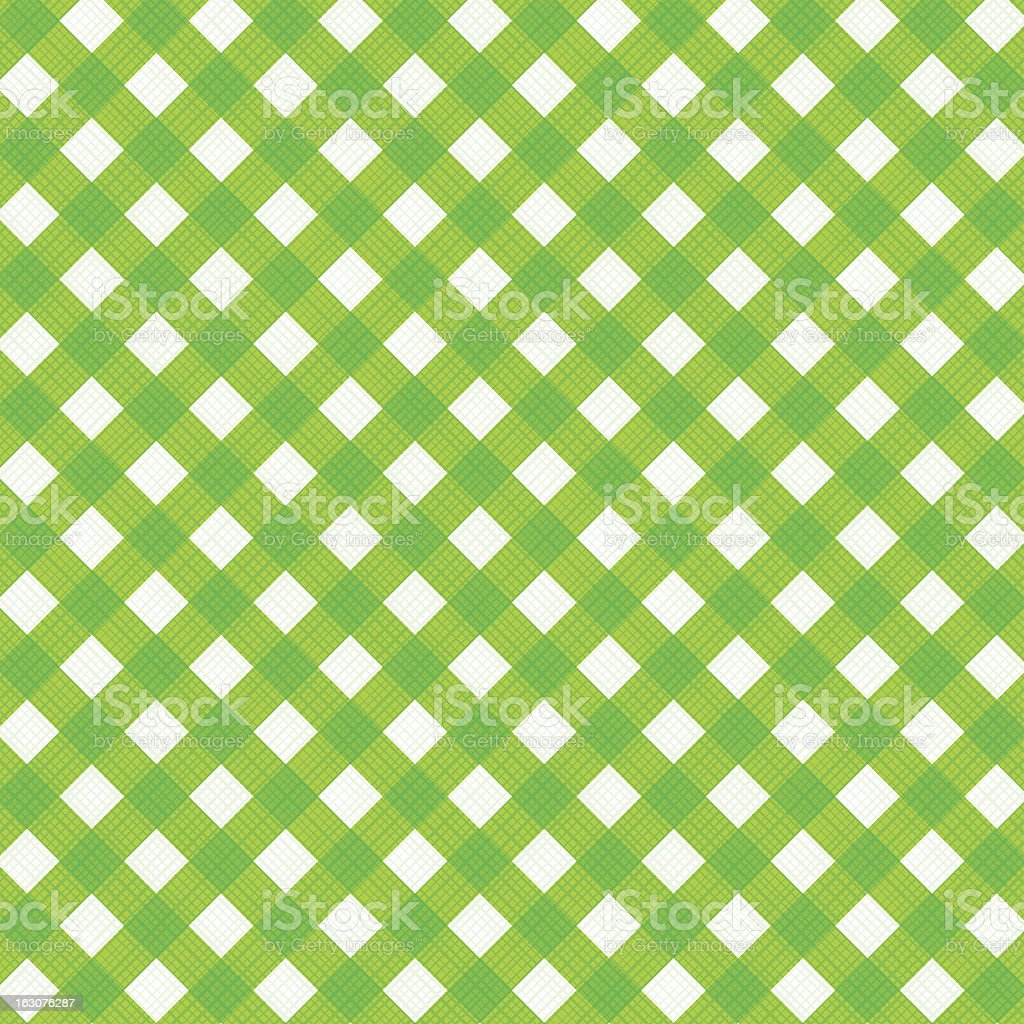 Fresh green gingham fabric cloth, seamless pattern included vector art illustration
