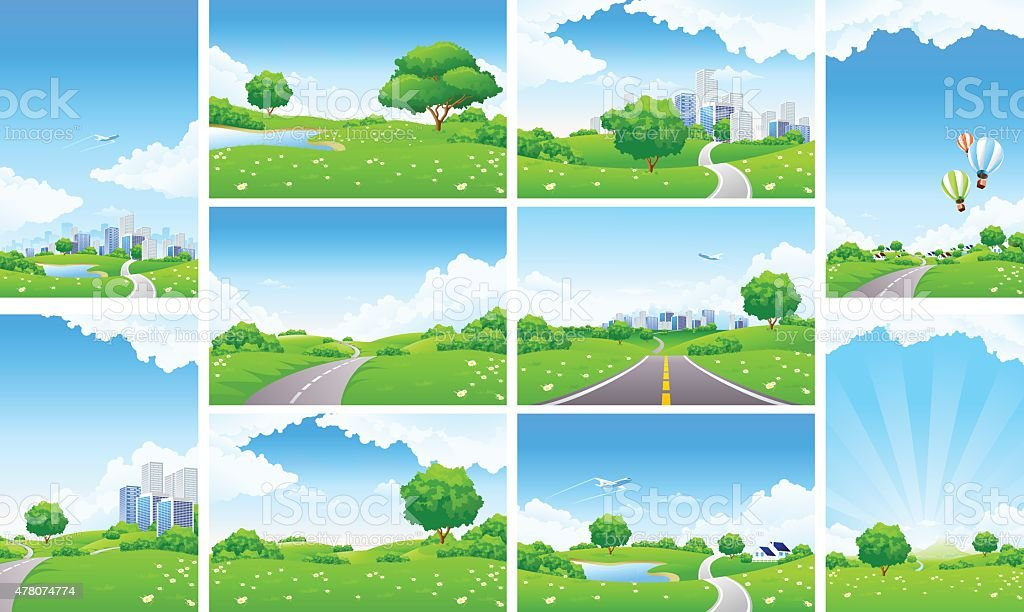Fresh Green Landscape Backgrounds Set vector art illustration