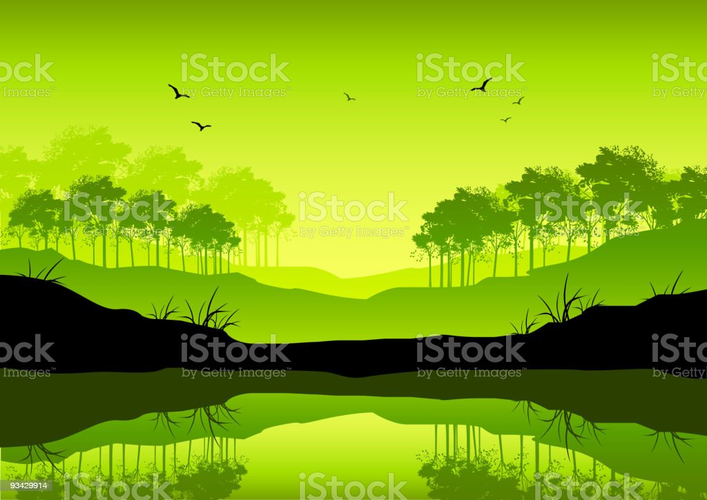 Fresh Green Landscape vector art illustration