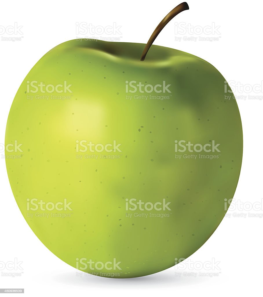 Fresh green realistic apple on white background royalty-free stock vector art