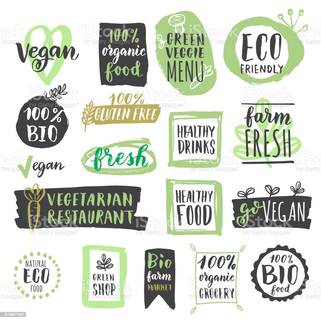 Fresh healthy organic vegan food labels and tags set vector art illustration