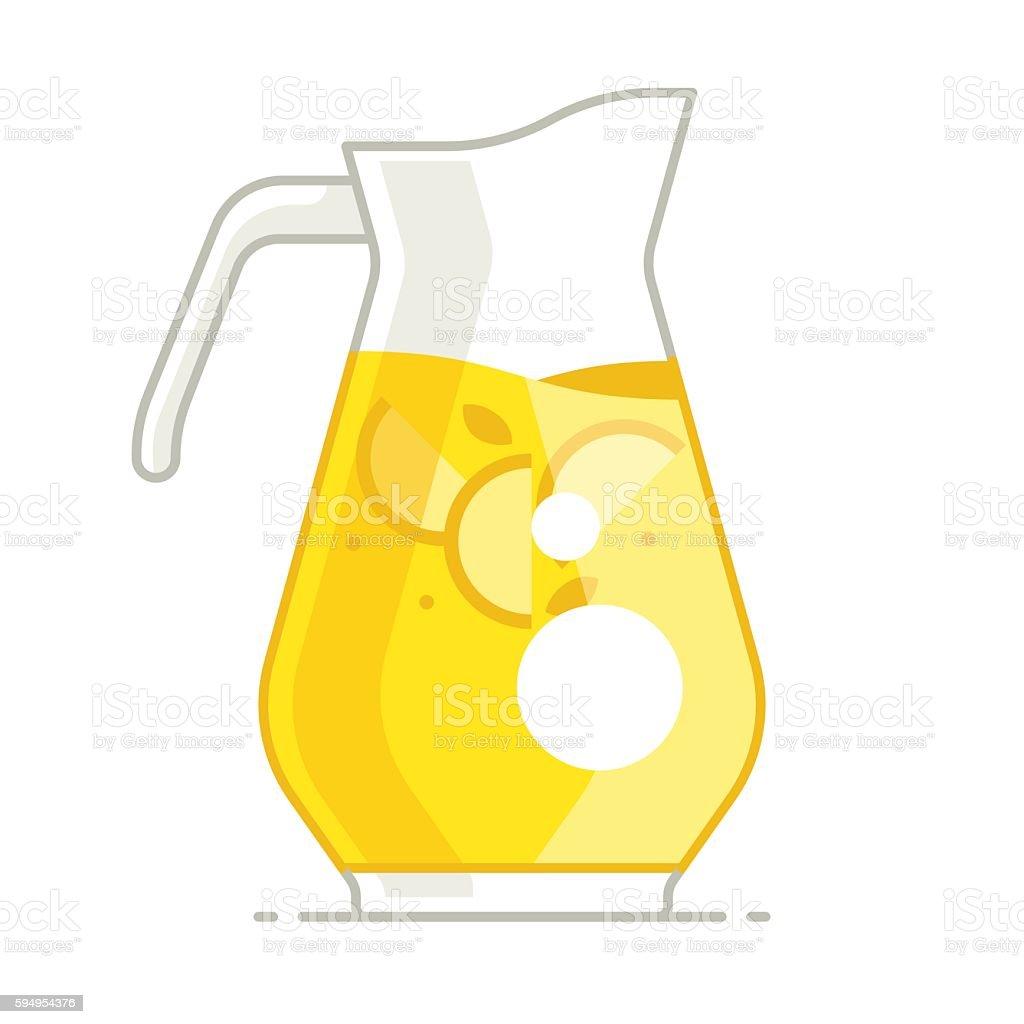 Fresh homemade lemonade. Pitcher of lemonade vector art illustration