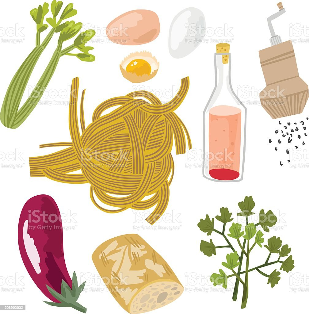 Fresh Italian Food Set with Pasta vector art illustration