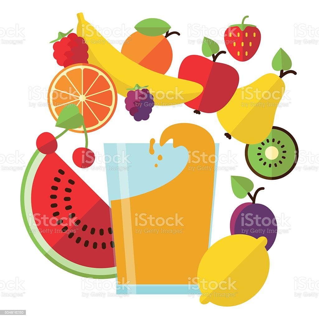 Fresh juice and fruit vector art illustration