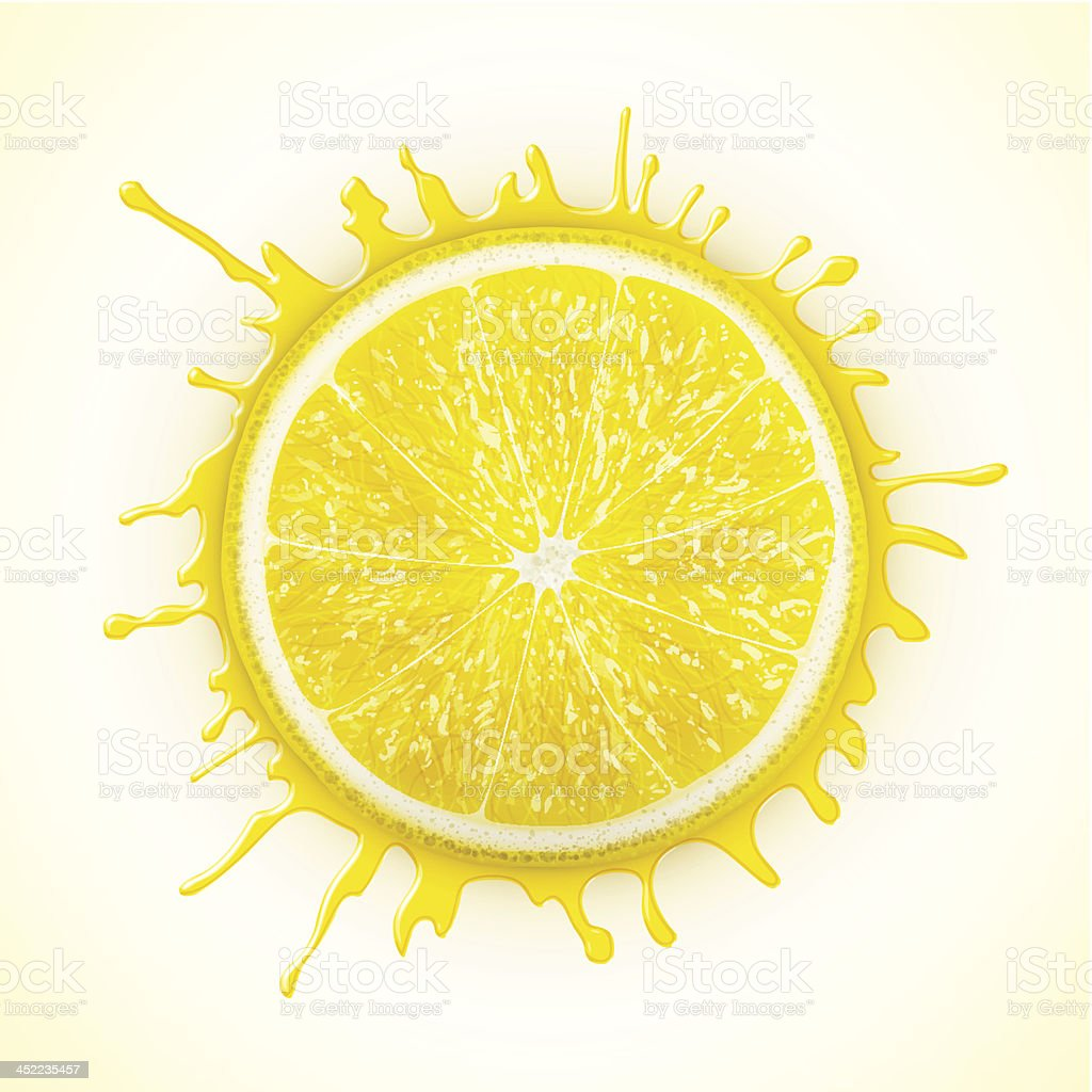 fresh lemon with splash royalty-free stock vector art
