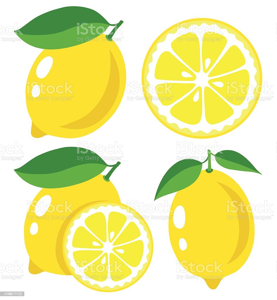 Fresh lemons, collection of vector illustrations vector art illustration