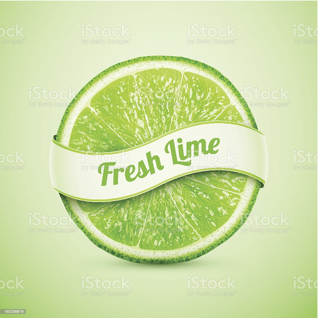 fresh lime with ribbon royalty-free stock vector art