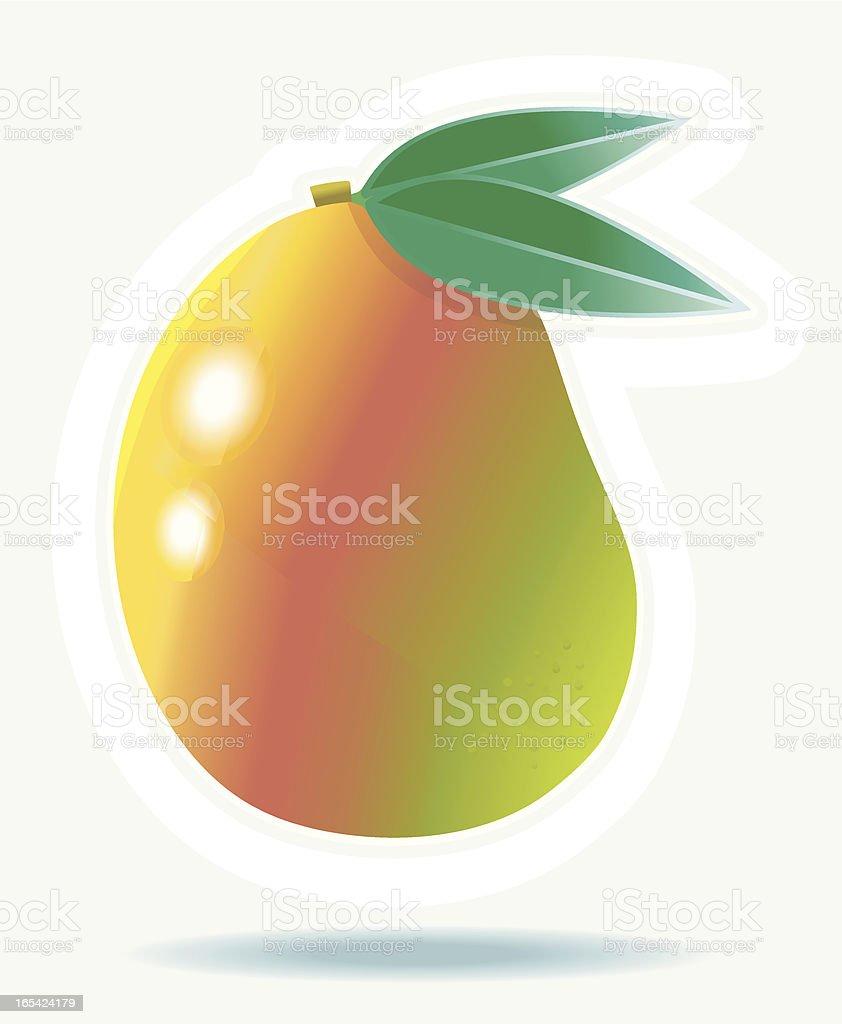 Fresh Mangofruit with leafs. vector art illustration