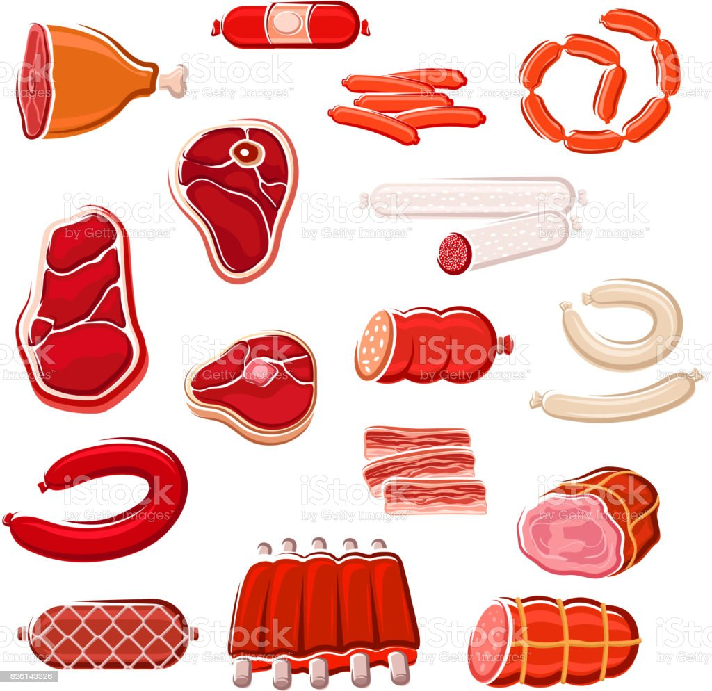 Fresh meat and sausage icon set for food design vector art illustration