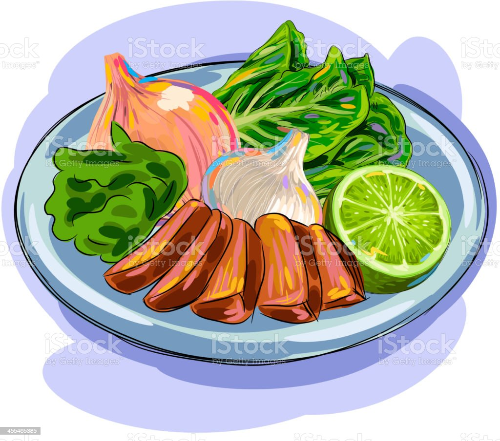 Fresh meat and vegetables vector art illustration