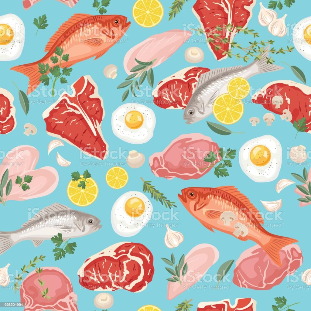 Fresh Meats, Fish and Eggs Seamless Pattern vector art illustration