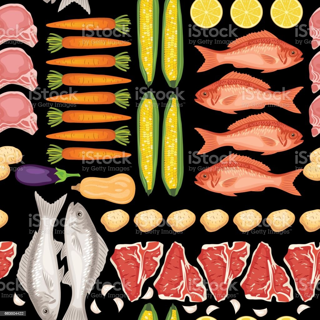 Fresh Meats, Fish and Vegtables Seamless Pattern vector art illustration