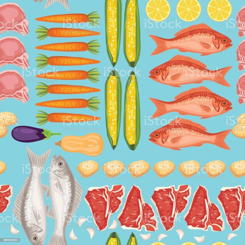 Fresh Meats, Fish and Vegtables Seamless Pattern vector art illustration