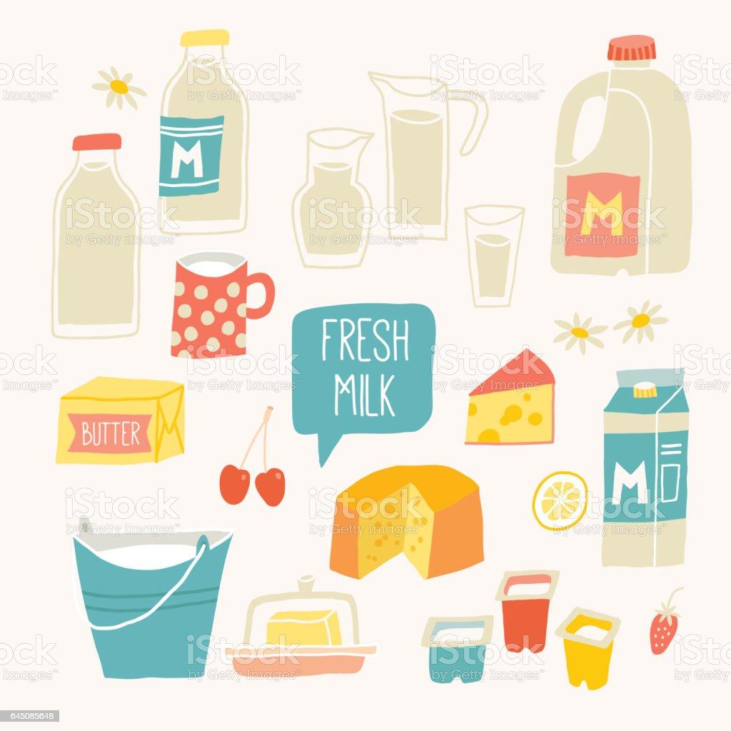 Fresh milk set. Dairy products - milk, yogurt, cheese, butter, milkshake. vector art illustration