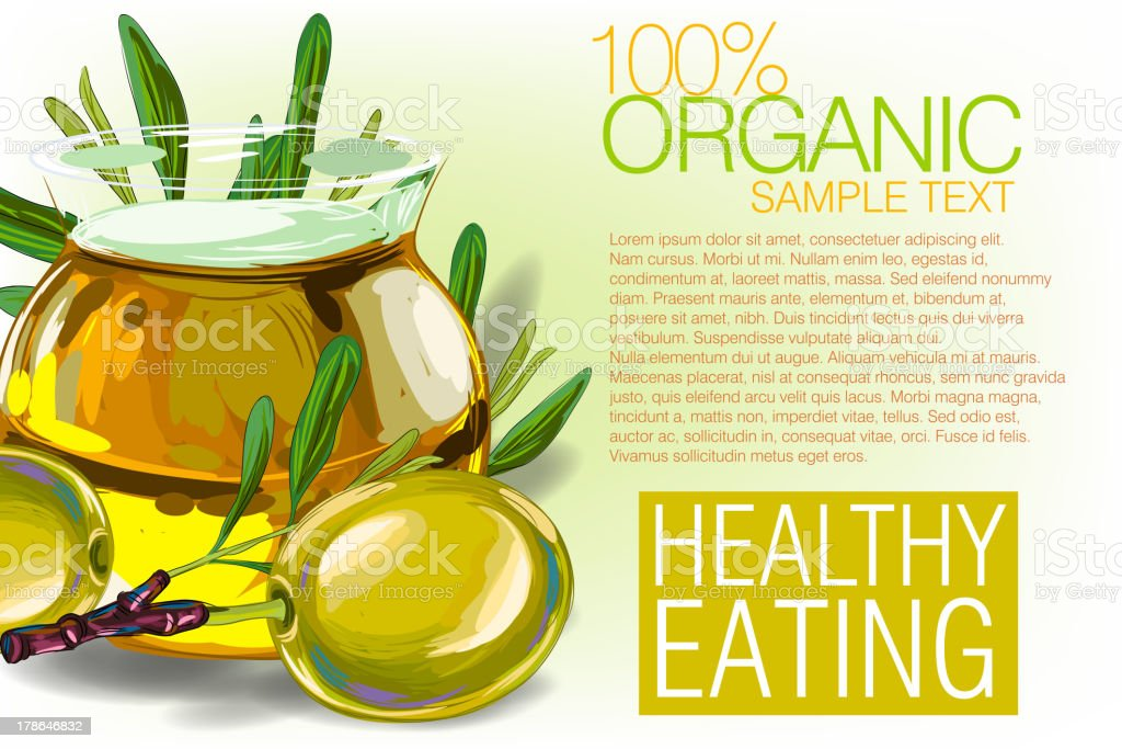 Fresh Olive and Oil royalty-free stock vector art